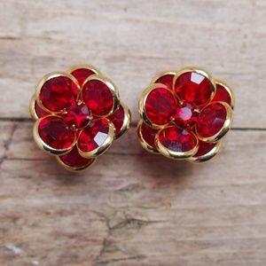 Stunning & Shimmering Red Flower Crystal Earrings